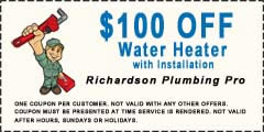 richardson plumbing $100 off water heater with installation